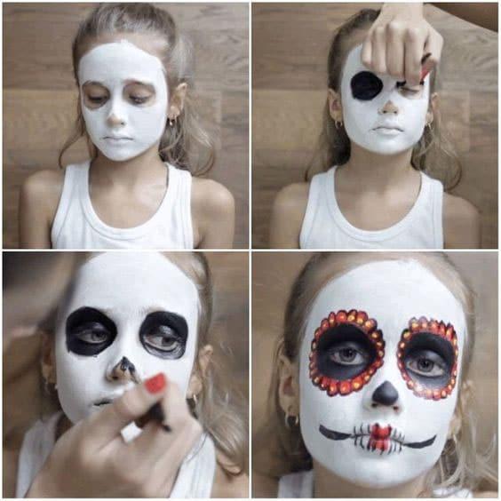 maquillage halloween tête de mort